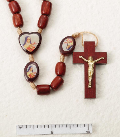 St. Theresa Wooden Rosary on Cord - Gerken's Religious Supplies