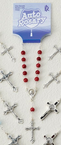 Red Round Bead Auto Rosary - Gerken's Religious Supplies