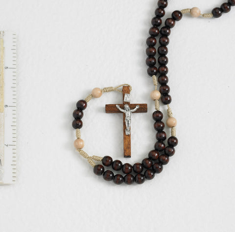 Brown Wood Corded Rosary - Gerken's Religious Supplies