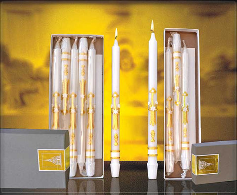 "Ornamented First Communion Candles ""4's"" - 4 Count - Gerken's Religious Supplies"