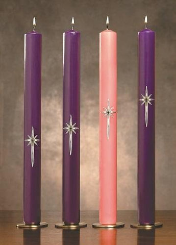 "1-1/2"" x 16"" 51% Beeswax Star of Bethlehem Advent Candle Set - Gerken's Religious Supplies"