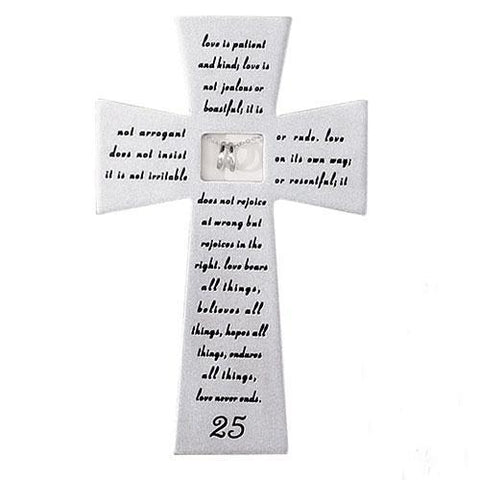 Love Never Fails 25th Anniversary Wall Cross - Gerken's Religious Supplies