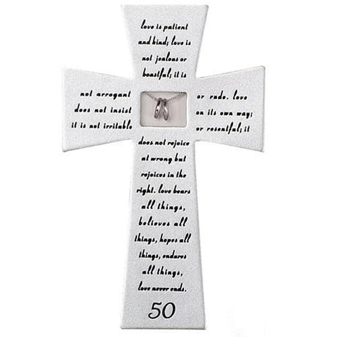 Love Never Fails 50th Anniversary Wall Cross - Gerken's Religious Supplies