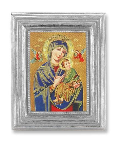 "Our Lady of Perpetual Help in Silver Frame - 3-7/8"" X 4-3/4"" - Gerken's Religious Supplies"