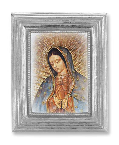 "Our Lady of Guadalupe in Silver Frame - 3-7/8"" X 4-3/4"" - Gerken's Religious Supplies"