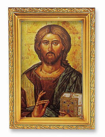 "Christ All Knowing Picture in Antique Gold Frame - 4"" X 6"" - Gerken's Religious Supplies"