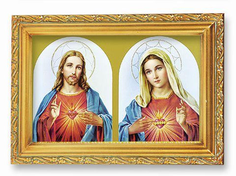 "The Sacred Hearts Picture in Antique Gold Frame - 4"" X 6"" - Gerken's Religious Supplies"