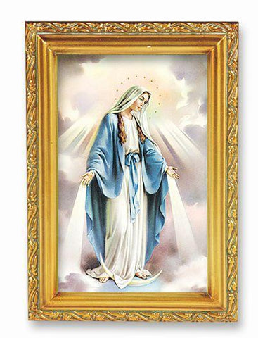 "Our Lady of Grace Picture in Antique Gold Frame - 4"" X 6"" - Gerken's Religious Supplies"