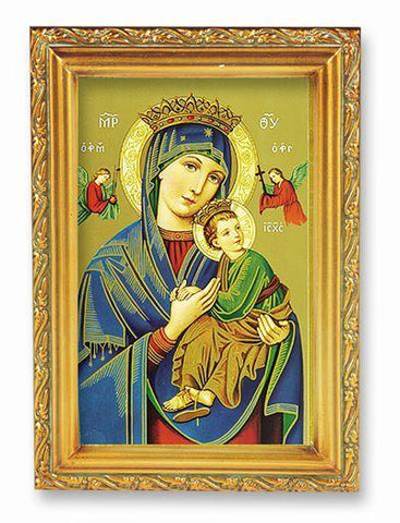 "Our Lady of Perpetual Help Picture in Antique Gold Frame - 4"" X 6"" - Gerken's Religious Supplies"