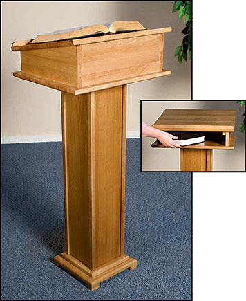 Lectern with Shelf - Pecan