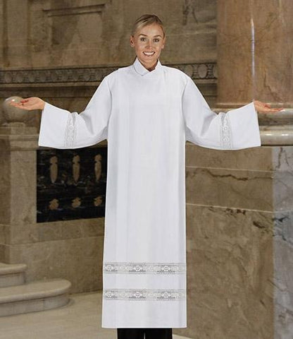 Women's Front Wrap Alb with Lace - Gerken's Religious Supplies