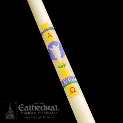 "1-15/16"" x 39"" He Is Risen Paschal Candle - Gerken's Religious Supplies"