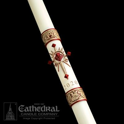 "1-15/16"" x 27"" Sacred Heart Paschal Candle - Gerken's Religious Supplies"