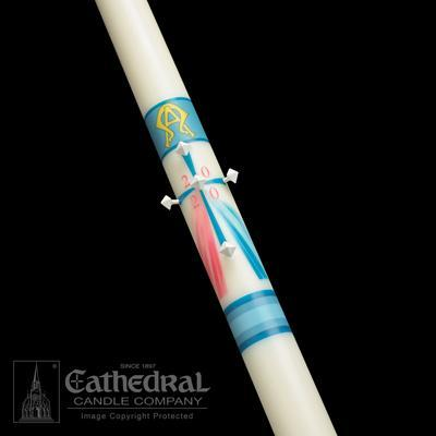 "2-3/16"" x 48"" Divine Mercy Paschal Candle - Gerken's Religious Supplies"
