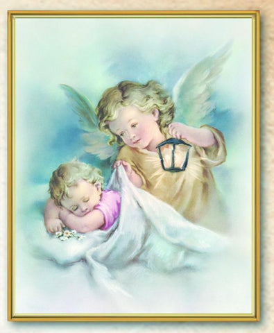 "Guardian Angel with Lantern Framed Plaque - 8"" X 10"" - Gerken's Religious Supplies"