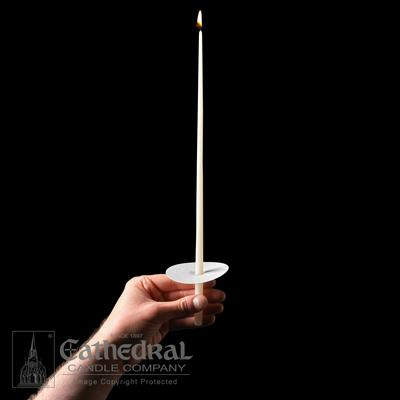 "14"" 51% Beeswax Congregational Tapers with Bobeches - 100 Ct. - Gerken's Religious Supplies"