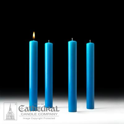 "1-1/2"" X 12"" 51% Beeswax Advent Candle Set (4 Blue) - Gerken's Religious Supplies"