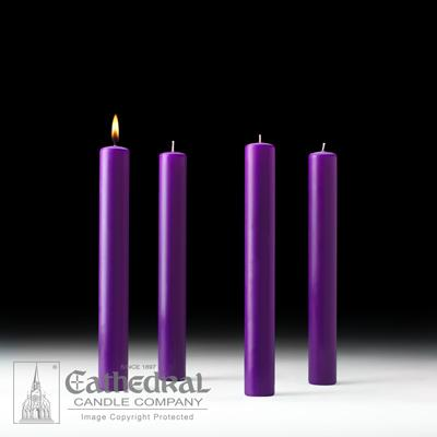 "1-1/2"" X 12"" 51% Beeswax Advent Candle Set (4 Purple) - Gerken's Religious Supplies"