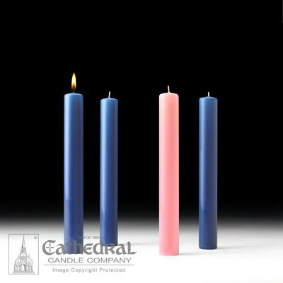 "1-1/2"" X 12"" 51% Beeswax Advent Candle Set (3 Sarum Blue, 1 Pink)"