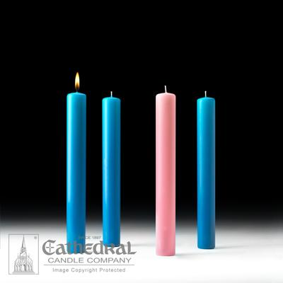 "1-1/2"" X 12"" 51% Beeswax Advent Candle Set (3 Blue, 1 Pink) - Gerken's Religious Supplies"