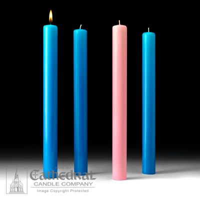 "1-1/2"" X 16"" 51%  Beeswax Advent Candle Set (3 Blue, 1 Pink) - Gerken's Religious Supplies"