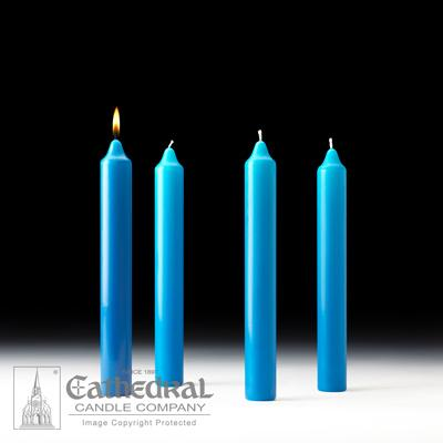 "1-1/2"" X 12"" Stearine Advent Candle Set (4 Blue) - Gerken's Religious Supplies"