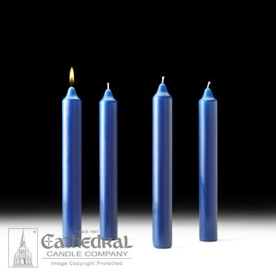 "1-1/2"" X 12"" Stearine Advent Candle Set (4 Sarum Blue) - Gerken's Religious Supplies"