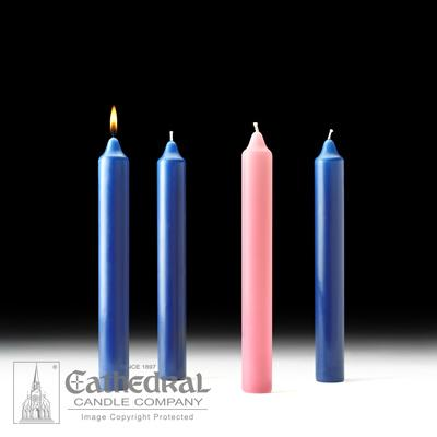 "1-1/2"" X 12"" Stearine Advent Candle Set (3 Sarum Blue, 1 Pink) - Gerken's Religious Supplies"