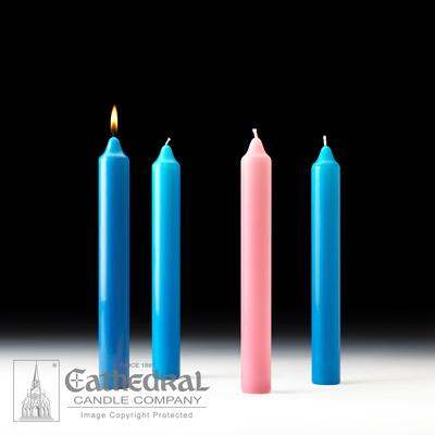 "1-1/2"" X 12"" Stearine Advent Candle Set (3 Blue, 1 Pink) - Gerken's Religious Supplies"