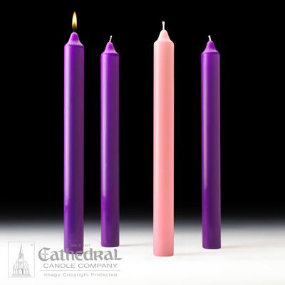 "1-1/2"" X 16"" Stearine Advent Candle Set (3 Purple, 1 Pink) - Gerken's Religious Supplies"