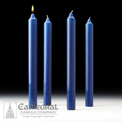 "1-1/2"" X 16"" Stearine Advent Candle Set (4 Sarum Blue) - Gerken's Religious Supplies"