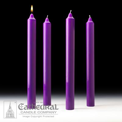 "1-1/2"" X 16"" Stearine Advent Candle Set (4 Purple) - Gerken's Religious Supplies"