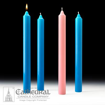 "1-1/2"" X 16"" Stearine Advent Candle Set (3 Blue, 1 Pink)"