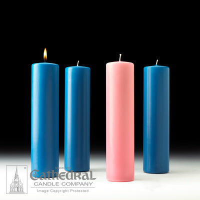 "3"" X 12"" Stearine Advent Pillar Candle Set (3 Blue, 1 Pink)"