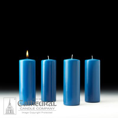 "3"" X 8"" Stearine Advent Pillar Candle Set (4 Blue)"