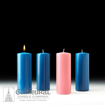"3"" X 8"" Stearine Advent Pillar Candle Set (3 Blue, 1 Pink)"
