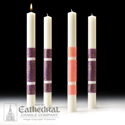 "4"" X 24"" Artisan Wax Advent Candle Set (3 Purple, 1 Pink)"