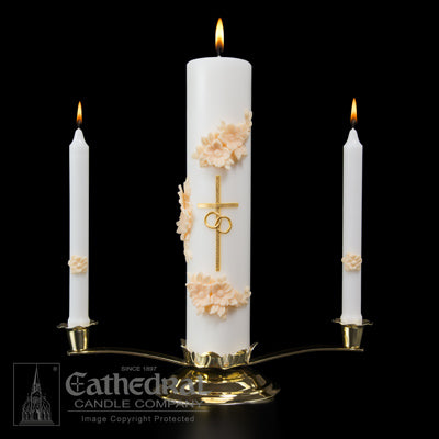 Wedding Side Candles - Gold & Cream