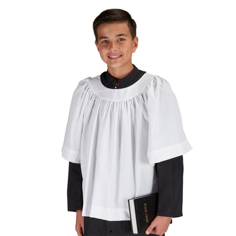 Altar Server Surplice - 3/4 Sleeve, Round Neck (SIZE 16-18) - Gerken's Religious Supplies
