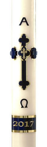 "2-1/16"" x 42"" Adoration Blue Paschal Candle - Gerken's Religious Supplies"