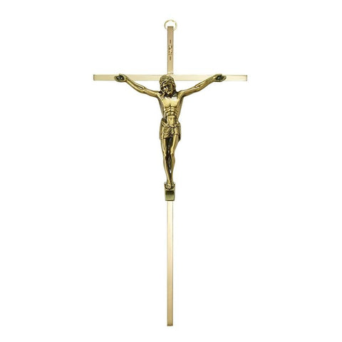 "10"" Gold-Plated Crucifix with Antiqued Corpus - Gerken's Religious Supplies"