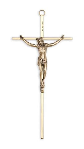 "10"" Gold Plated Cross with Antique Gold Finish Corpus - Gerken's Religious Supplies"
