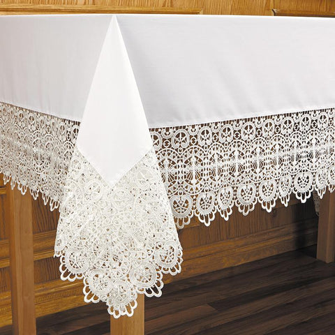 Budded Cross Lace Altar Frontal - Gerken's Religious Supplies