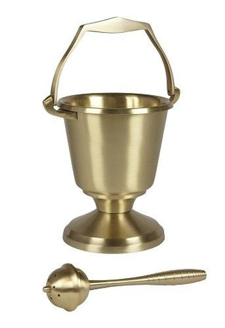 Brass Holy Water Pot & Sprinkler - Round Base - Gerken's Religious Supplies