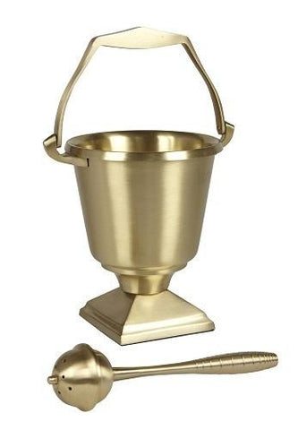 Brass Holy Water Pot & Sprinkler - Square Base - Gerken's Religious Supplies