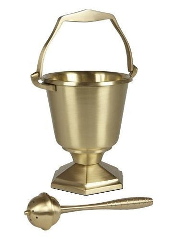 Brass Holy Water Pot & Sprinkler - Hexagon Base - Gerken's Religious Supplies