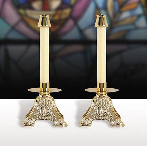 IHS Design Resin Candlesticks - Set of 2 - Gerken's Religious Supplies