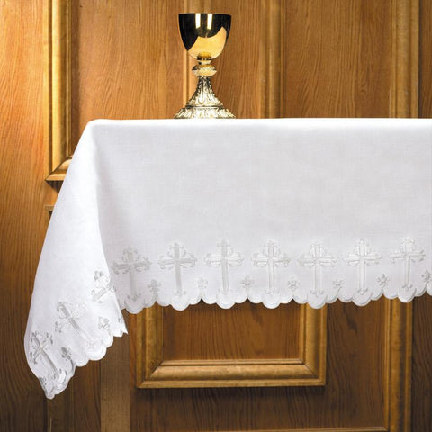 "Scalloped Edge with Cross Altar Frontal - One Sided, 96"" - Gerken's Religious Supplies"