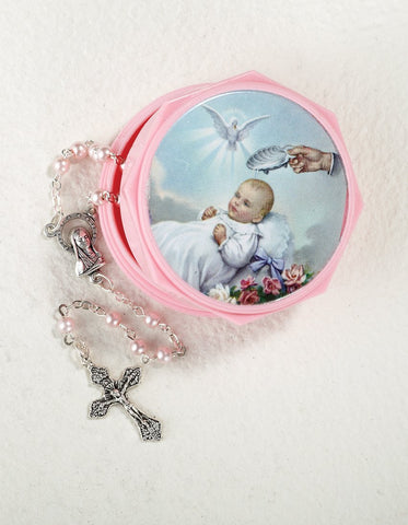 Pink Baptismal Rosary with Case - Gerken's Religious Supplies