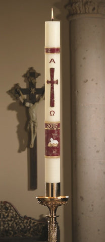 "3"" x 48"" Behold The Lamb Paschal Candle - Gerken's Religious Supplies"